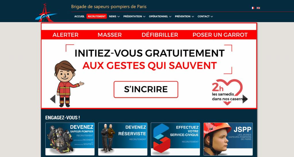 page d'accueil du site pompier de Paris sur lequel j'ai eu la gestion de projet